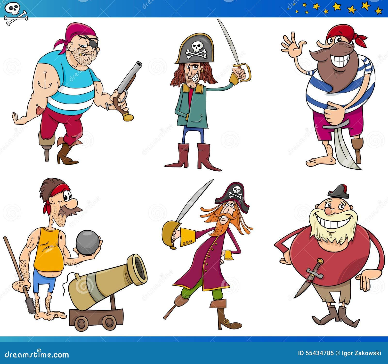 Pirates Cartoon Characters Set Stock Vector