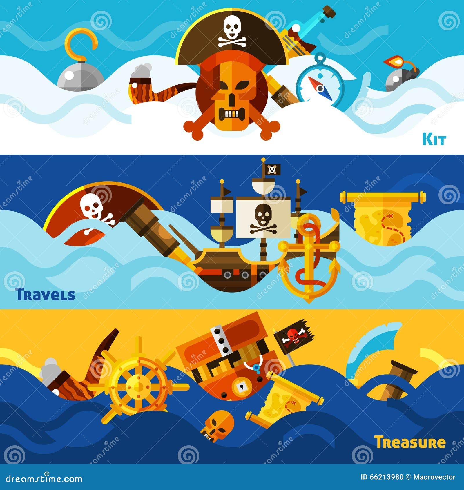 Pirates Horizontal Banners Set