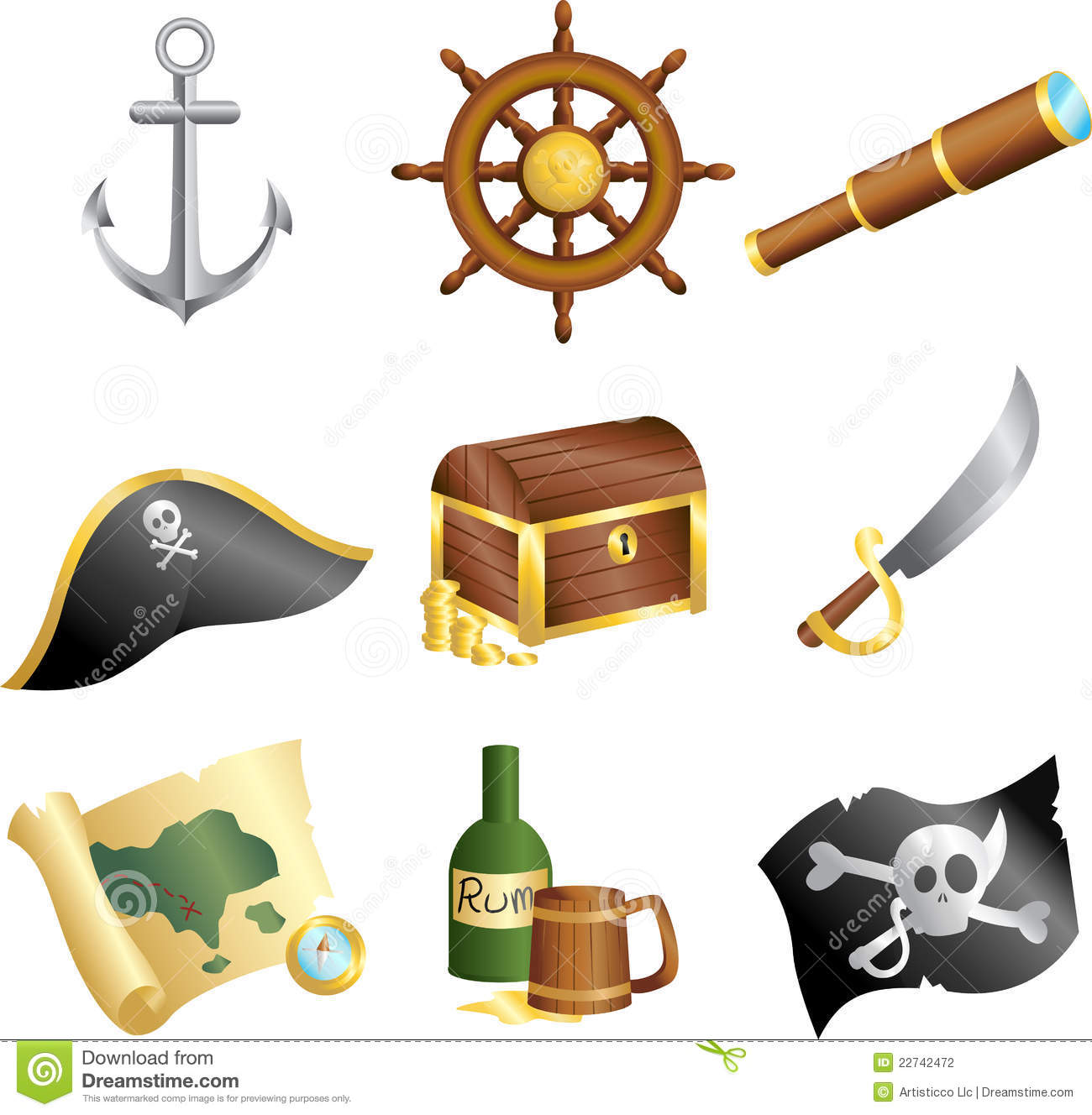 vector illustration of a collection of pirates icons.
