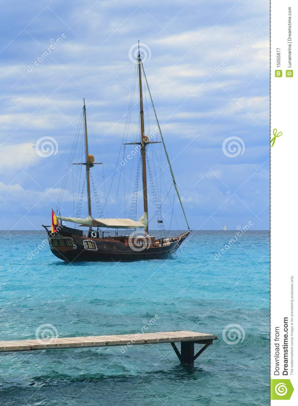 Pirates Inspired Wood Sailboat Anchored Turquoise Royalty Free Stock Photography - Image: 15055877
