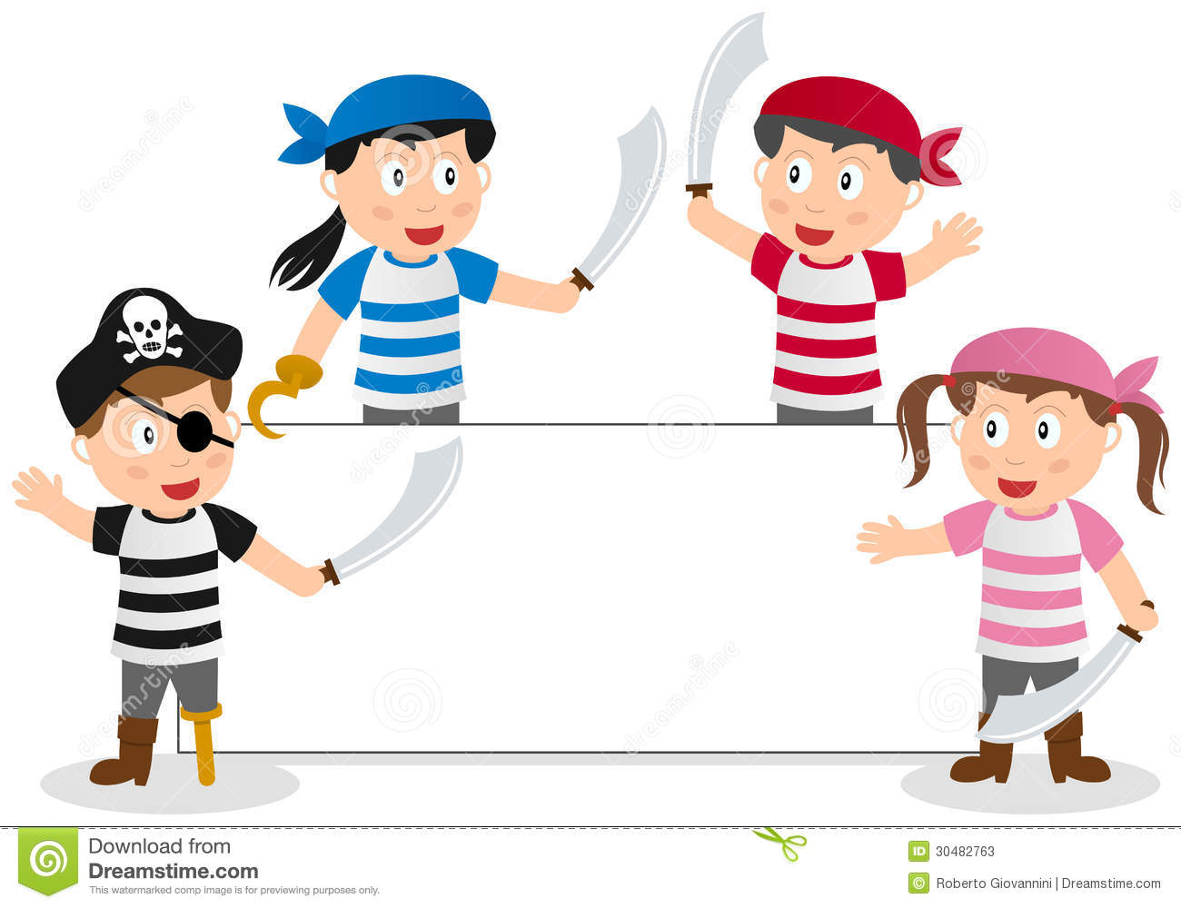 group of four cute pirate kids and a blank banner. Empty space for ...