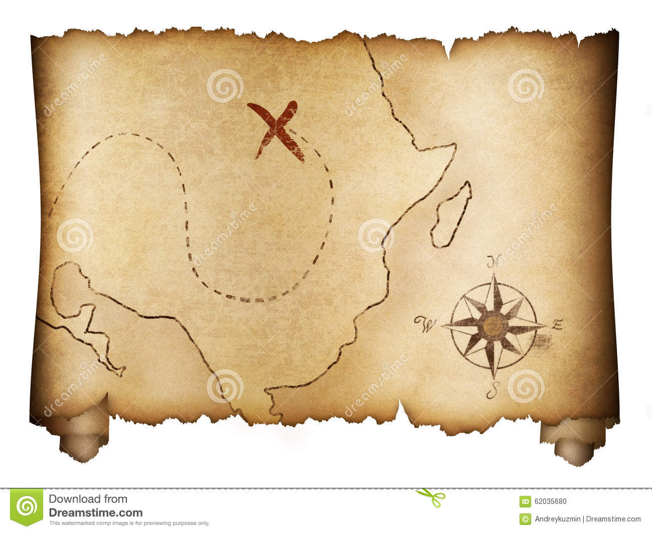 Pirates  old treasure map roll isolated