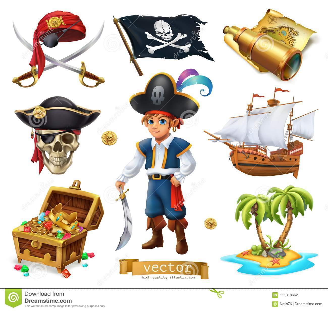 Pirates set. Boy, treasure chest, map, flag, ship and island. 3d vector icon