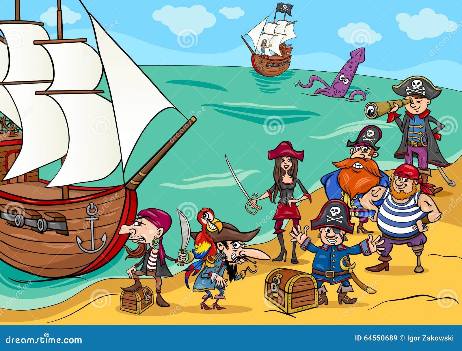 Pirates With Ship Cartoon Stock Vector - Image: 64550689
