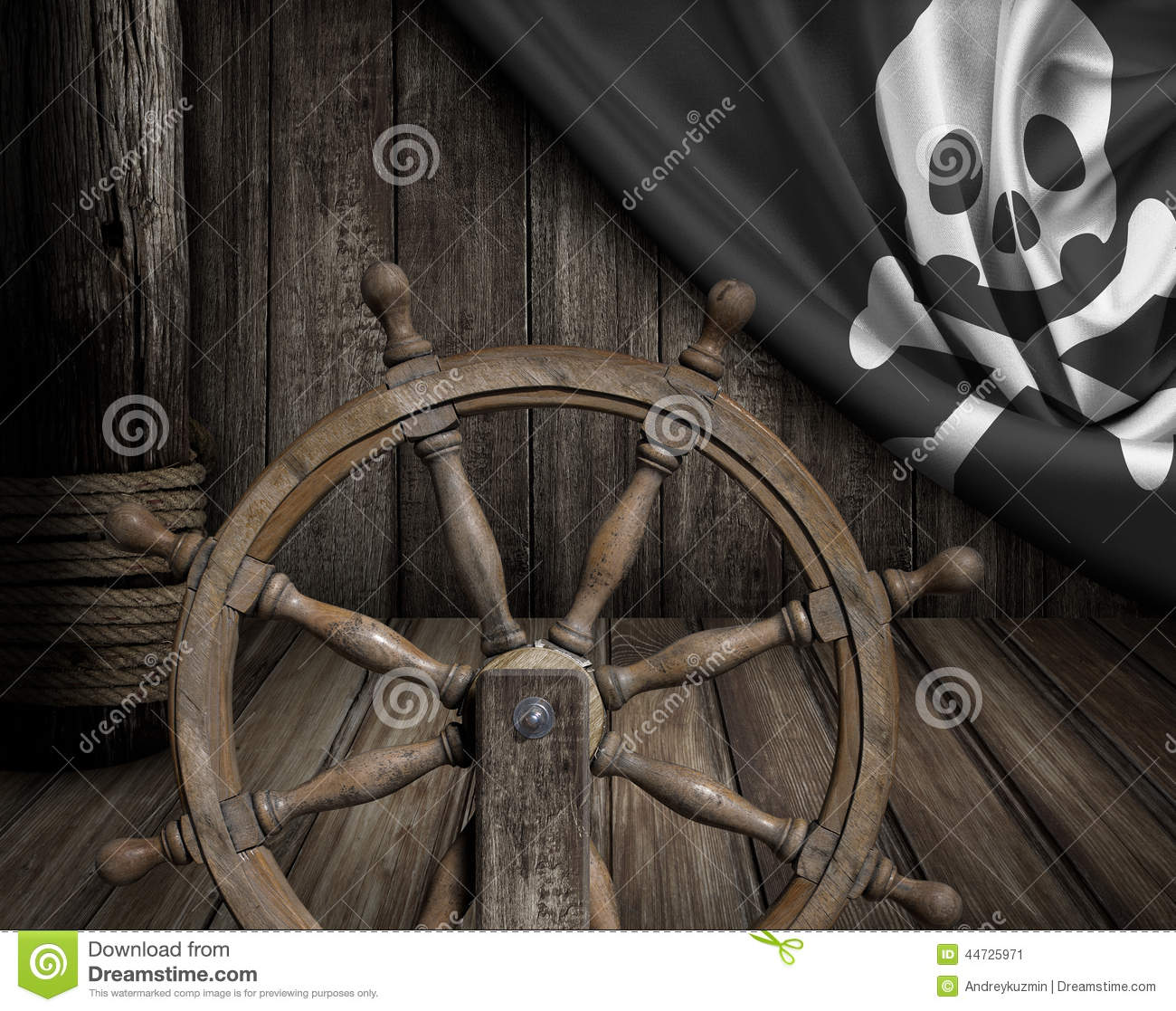 Pirates Ship Deck With Steering Wheel And Flag Stock Photo