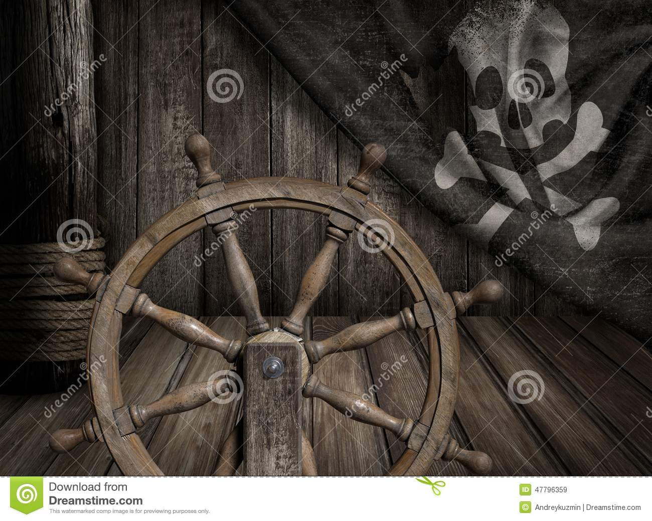 Pirates Ship Steering Wheel With Old Jolly Roger Stock ...