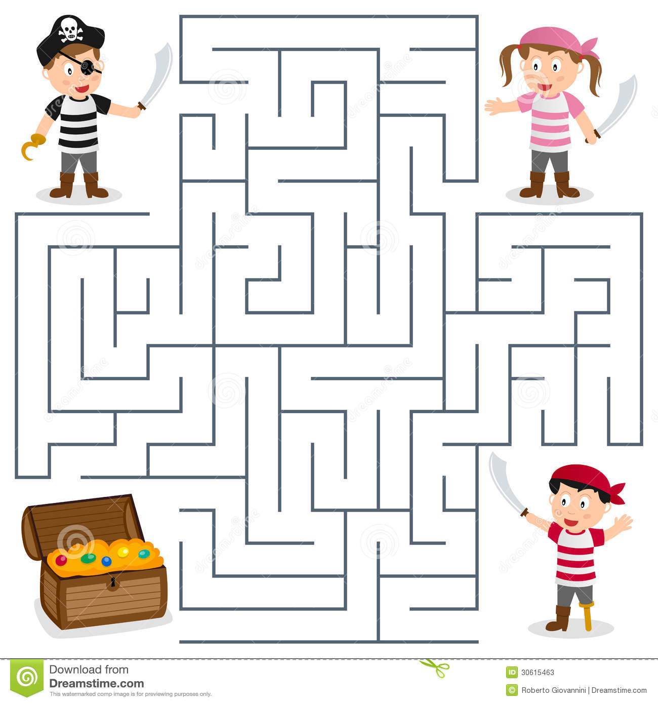 Stock Photos Pirates Treasure Maze Kids Box Game Children Help Three Find Way To Box Image30615463 on Free Printable Pirate Coloring Pages