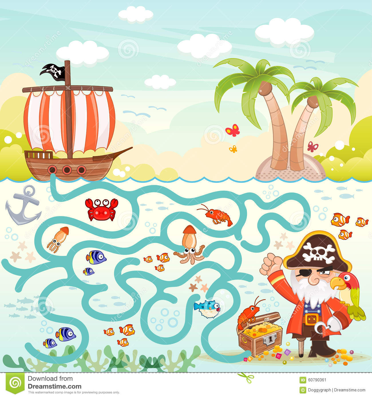 pirates and treasure box maze game for children help the three pirates ...