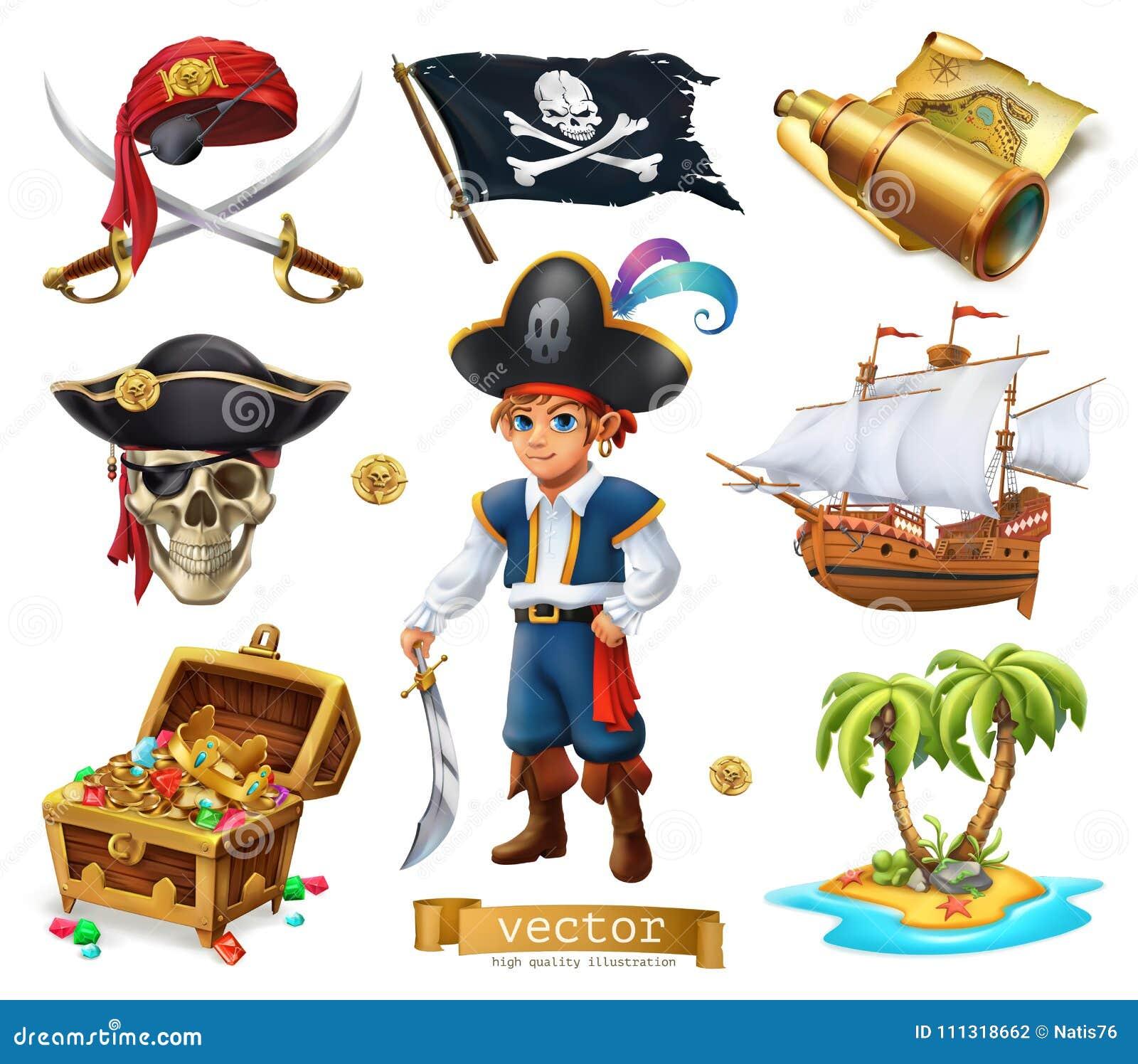 Pirati impostati Ragazzo, forziere, mappa, bandiera, nave ed isola icona di vettore 3d