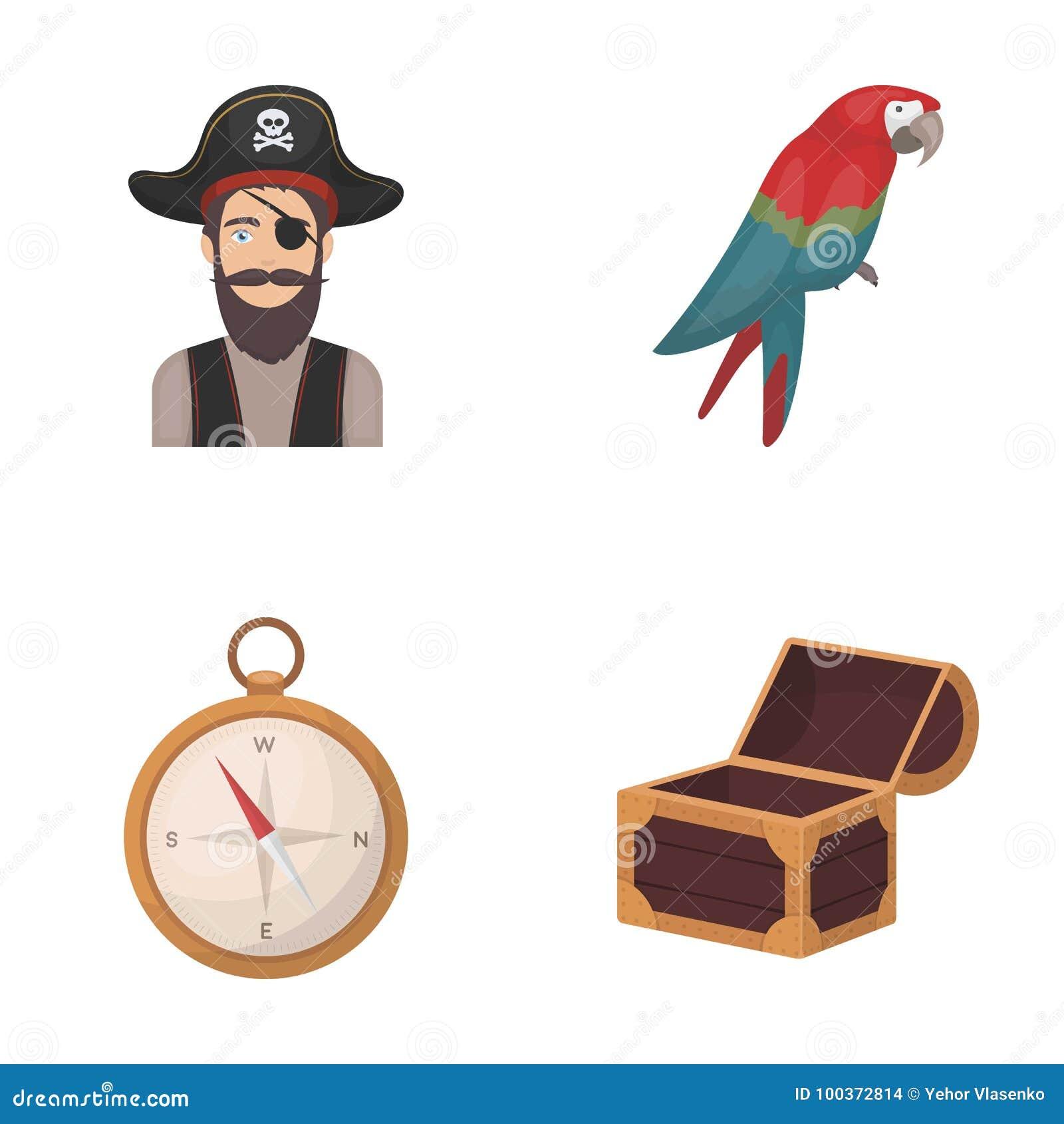 Piratkopiera banditen, hatt, förbinda Piratkopierar fastställda samlingssymboler i rengöringsduk för illustration för materiel fö