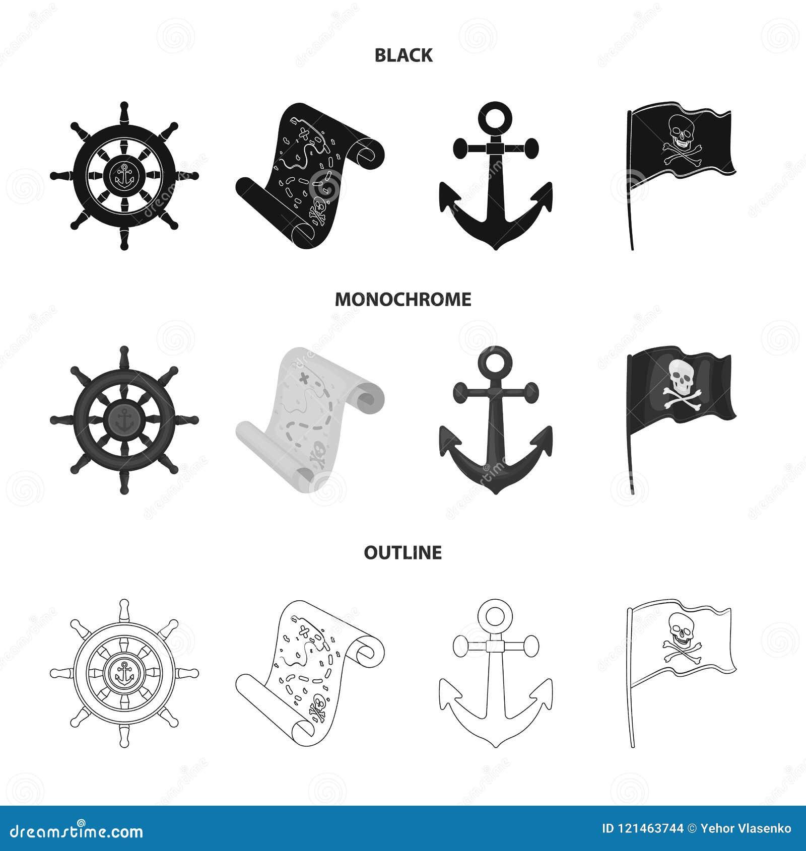 Piratkopiera banditen, rodern, flagga Piratkopierar fastställda samlingssymboler i svart, monokrom, materiel för symbol för övers