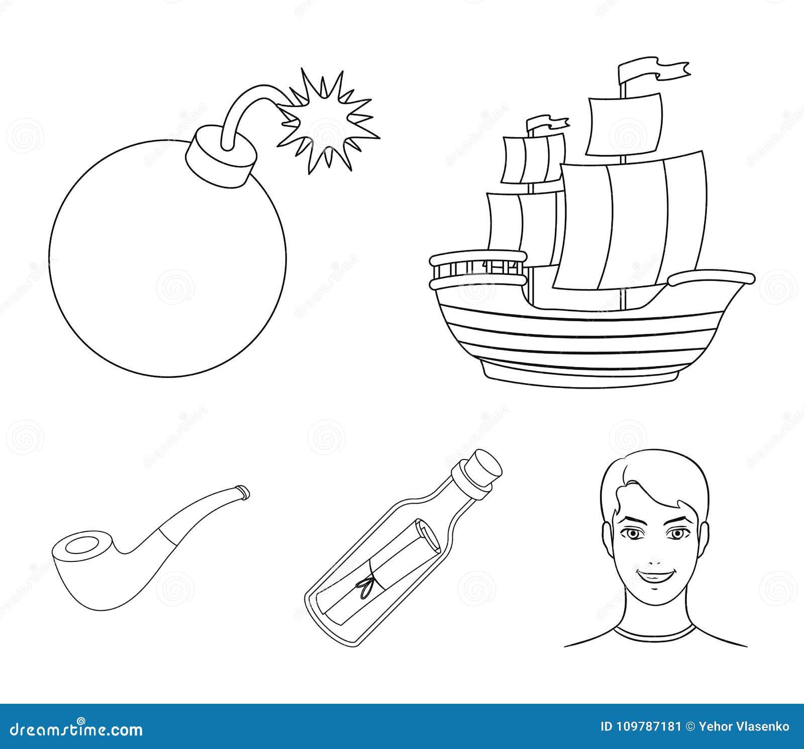Piratkopiera banditen, skepp, segla Piratkopierar fastställda samlingssymboler i rengöringsduk för illustration för materiel för
