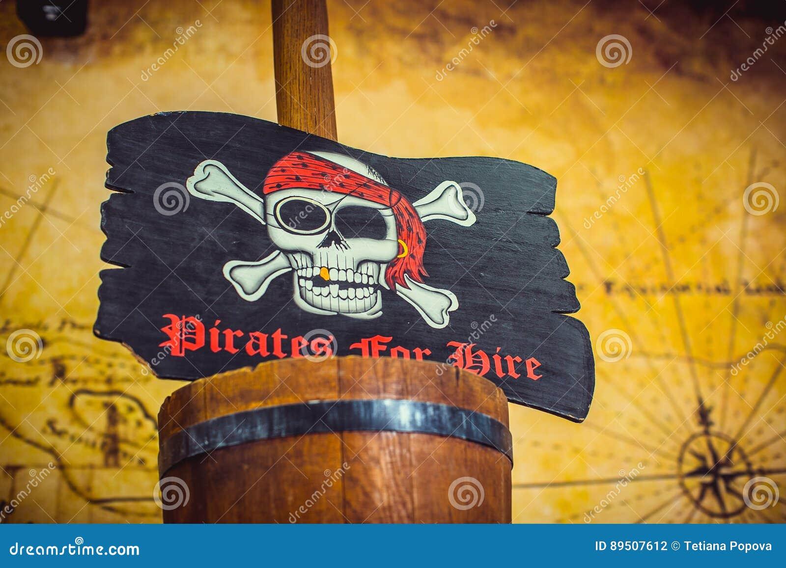 Piratkopiera flaggan med skallen och ben