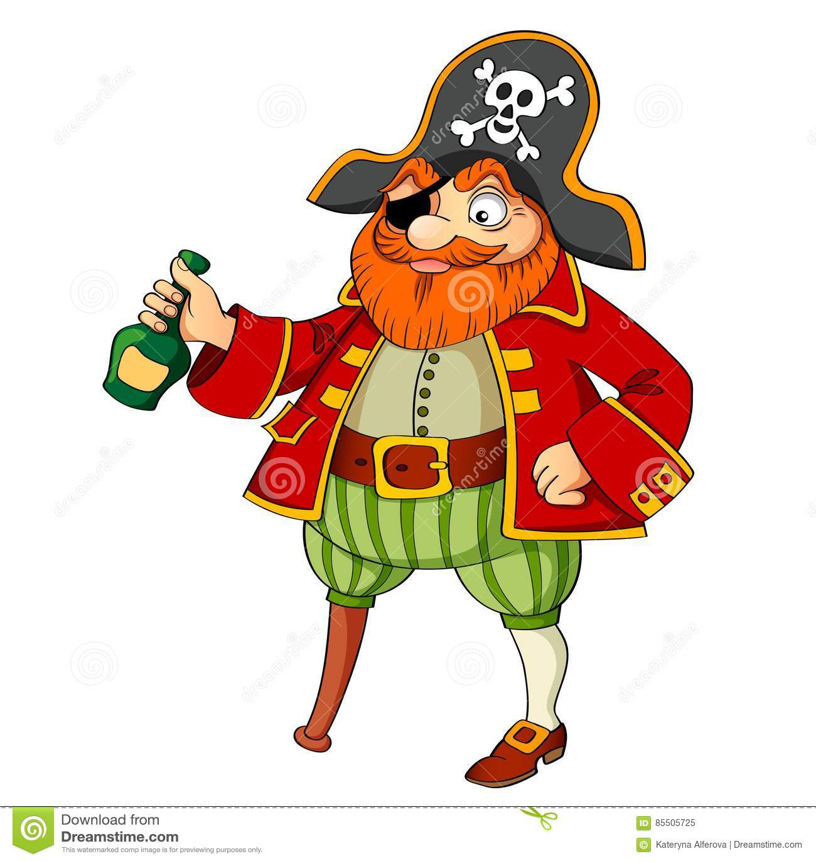 Piratkopiera med flaskan av rom