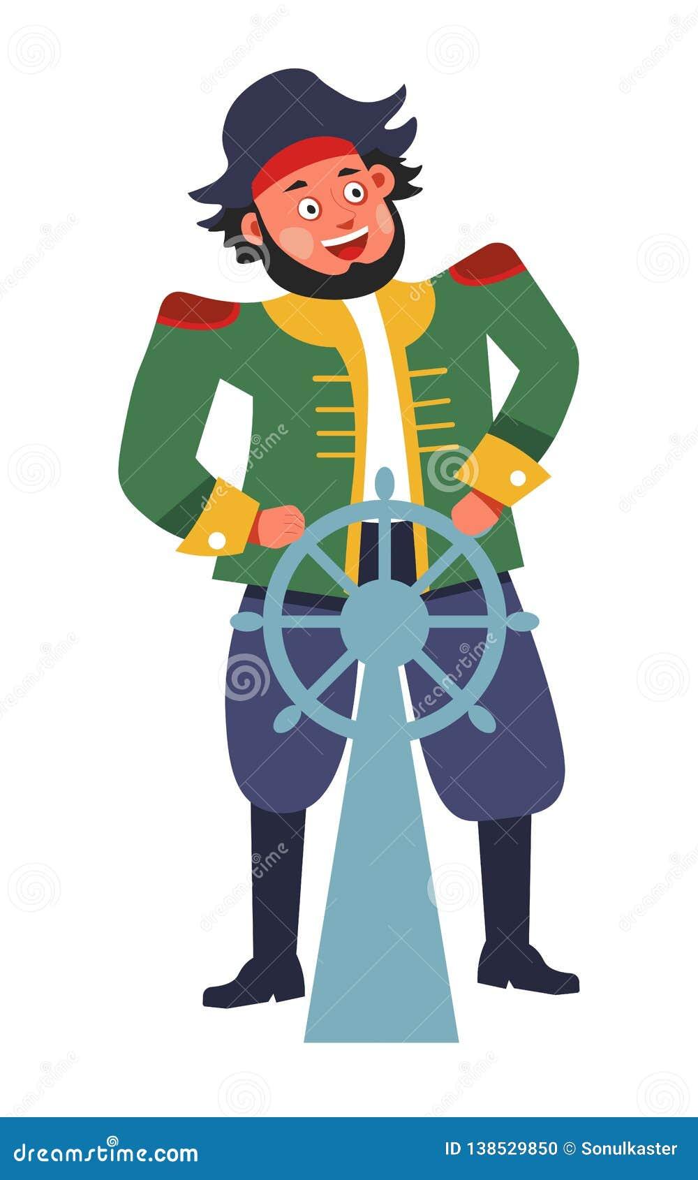Piratkopiera med styrninghjulet eller rodern isolerade manliga teckenet