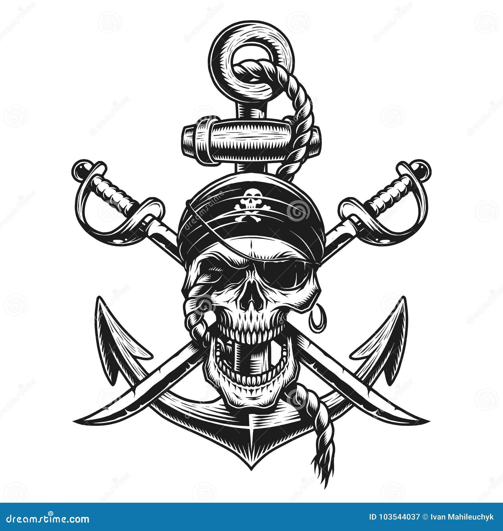 Piratkopiera skalleemblemet med svärd, ankare