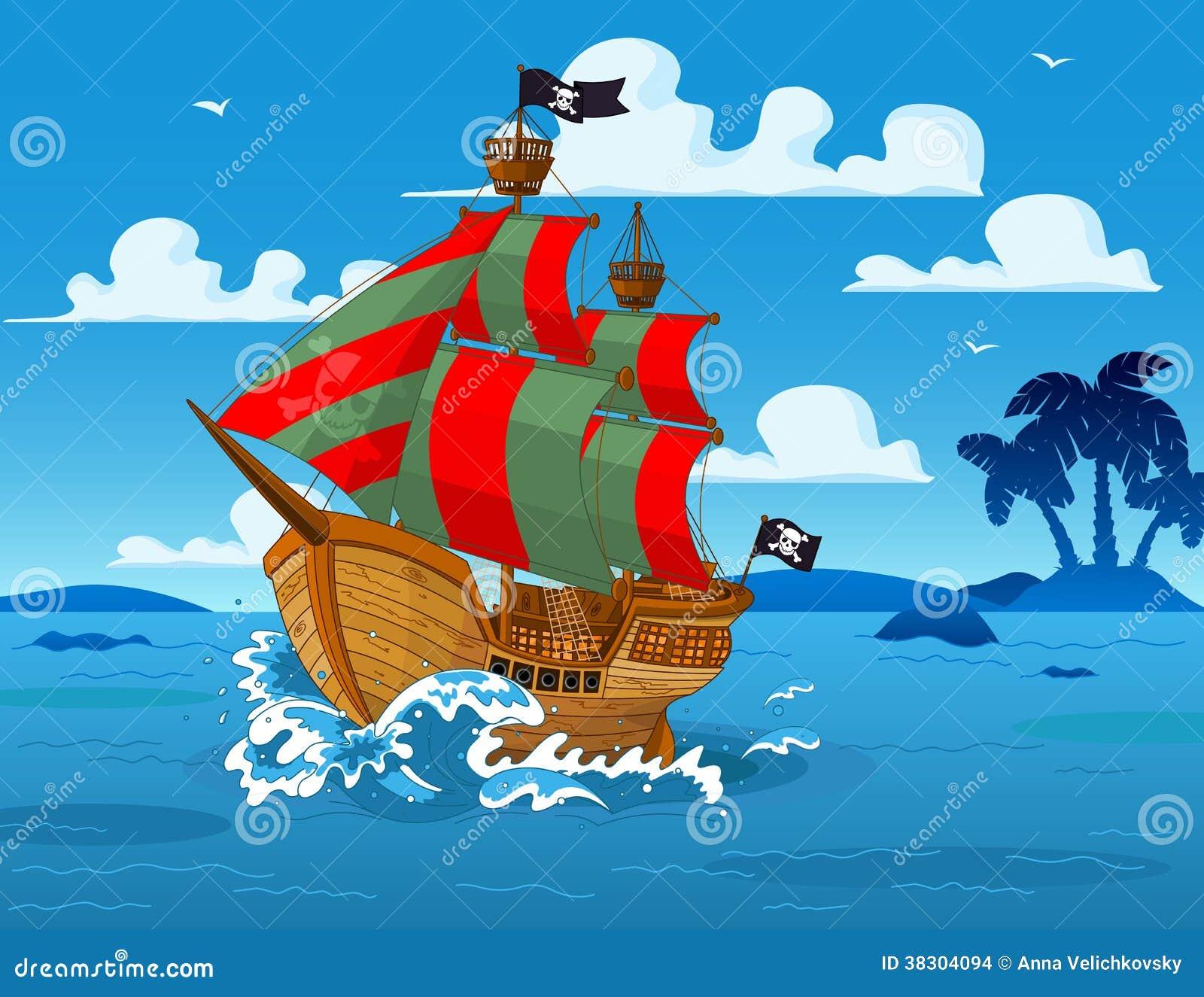 Piratkopiera skeppet på havet