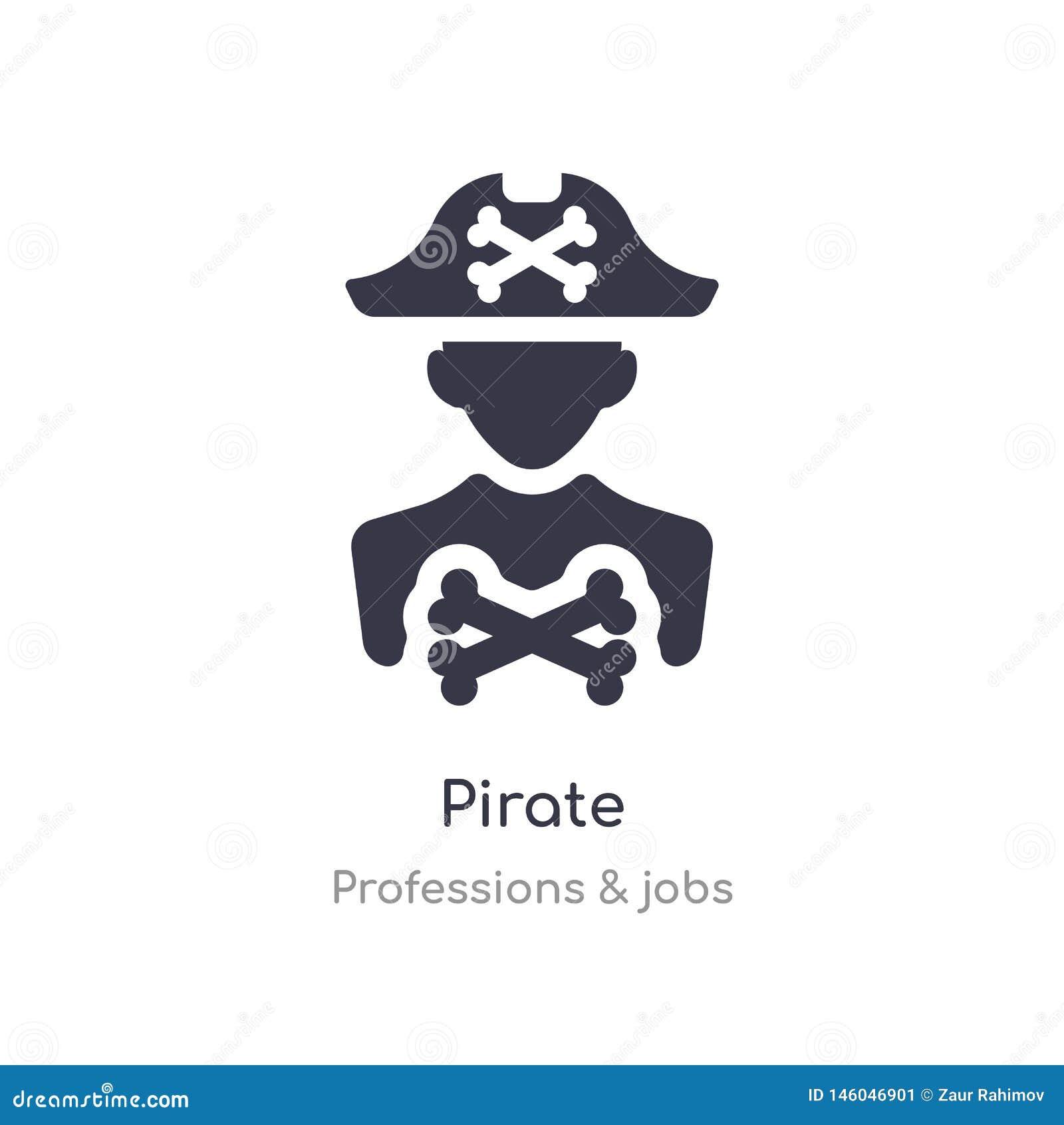 Piratkopiera symbolen isolerat piratkopiera symbolsvektorillustrationen från yrken & jobbsamling redigerbart sjunga symbolet kan