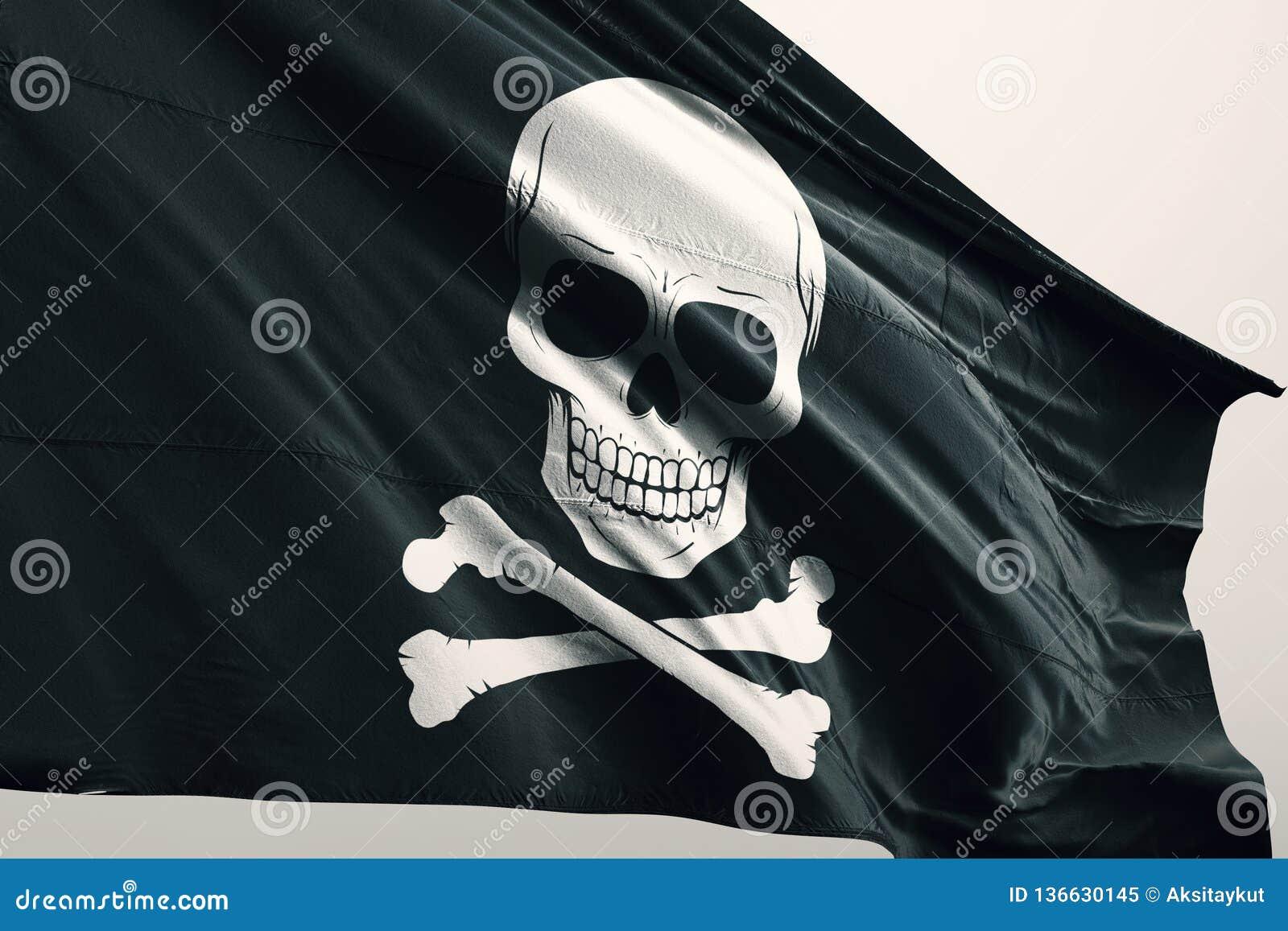 Piratkopiera symbolen på flagga