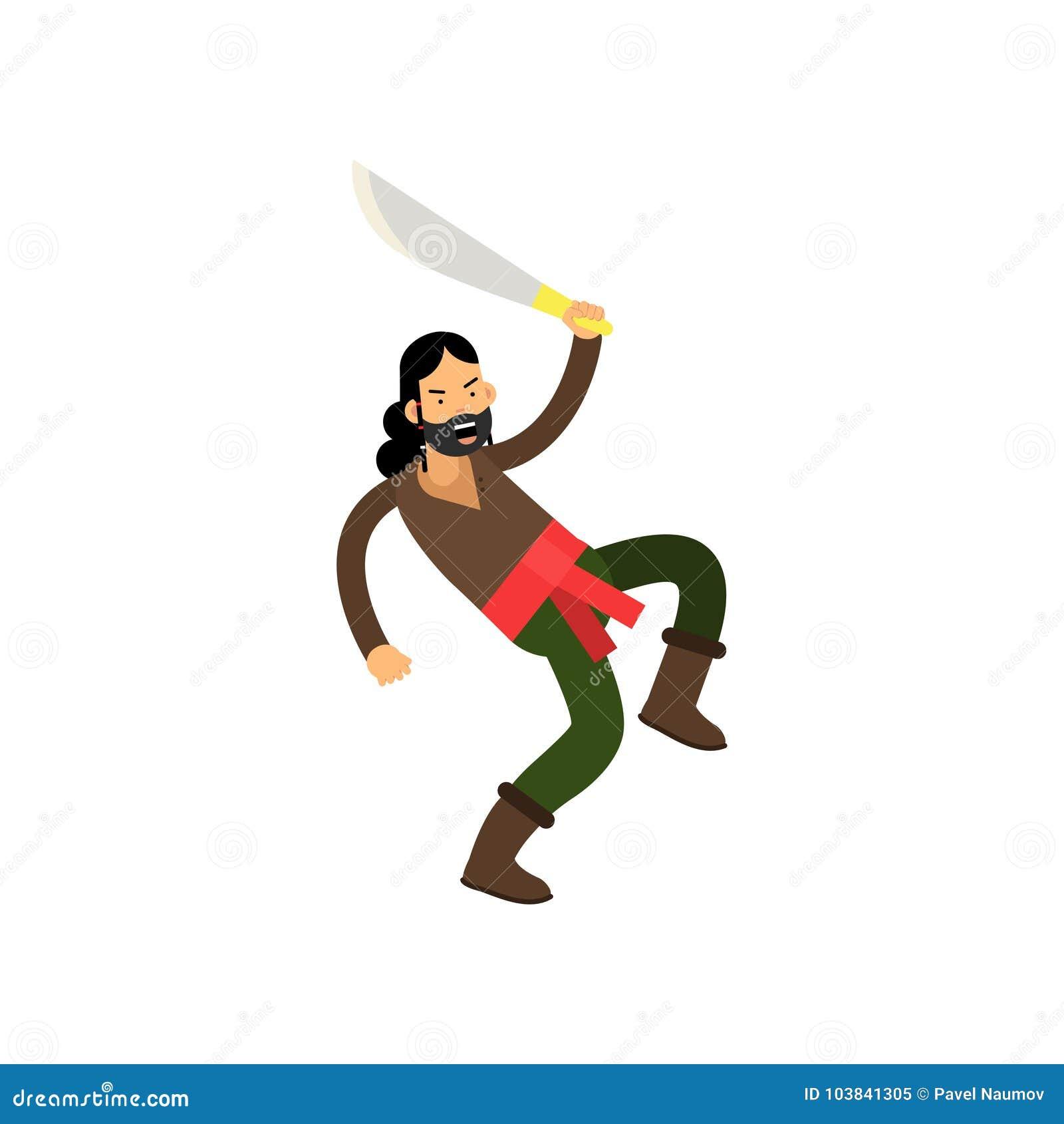 Piratkopierar ilsket skäggigt för tecknad film teckenet med svärdet i stridighet poserar, skattjägaren