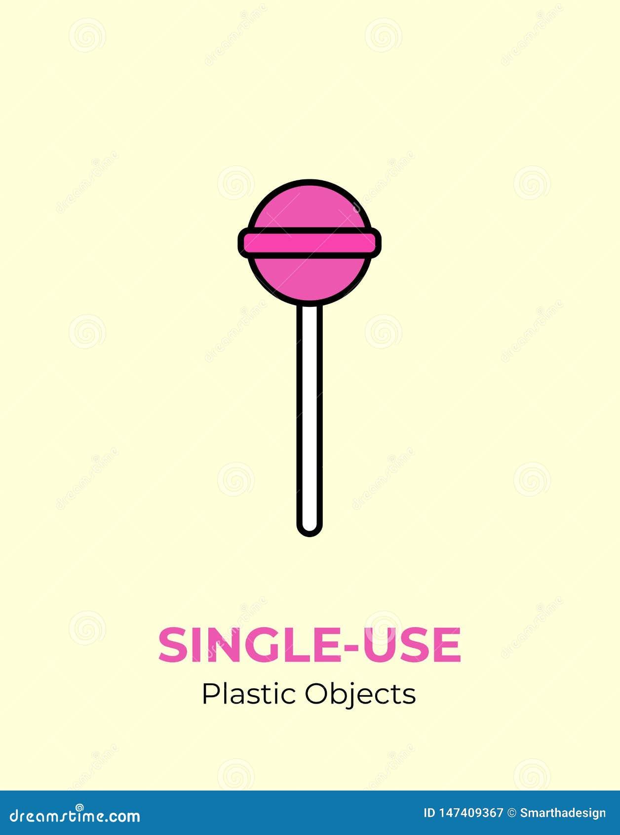 Piruleta colorida con el palillo plástico no reutilizable Ejemplo del vector de reciclar el art?culo pl?stico Palillo plástico de