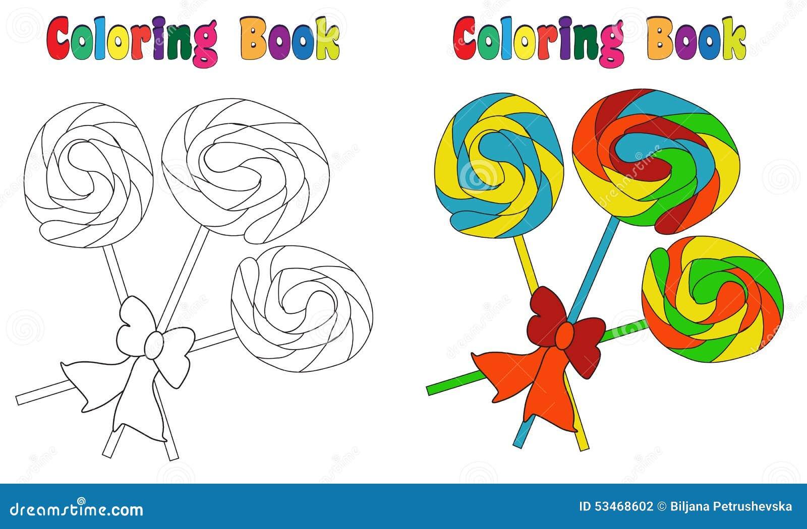 Pirulito Do Livro Para Colorir Ilustracao Do Vetor Ilustracao De