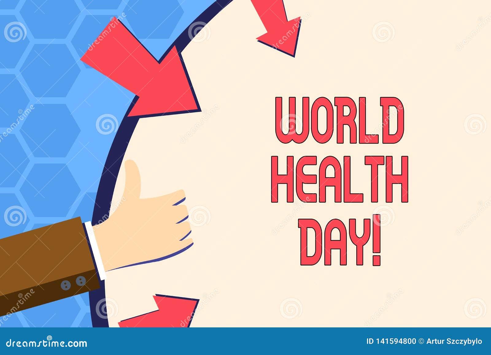 Pisać nutowemu seansowi Światowych zdrowie dniu Biznesowa fotografia pokazuje dodatek specjalny datę dla Zdrowych aktywność Dba z