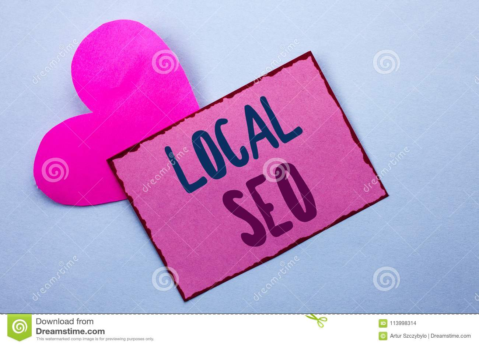 Pisać nutowego pokazuje miejscowego Seo Biznesowa fotografia pokazuje wyszukiwarka optymalizacja strategię Optymalizuje Lokalnego
