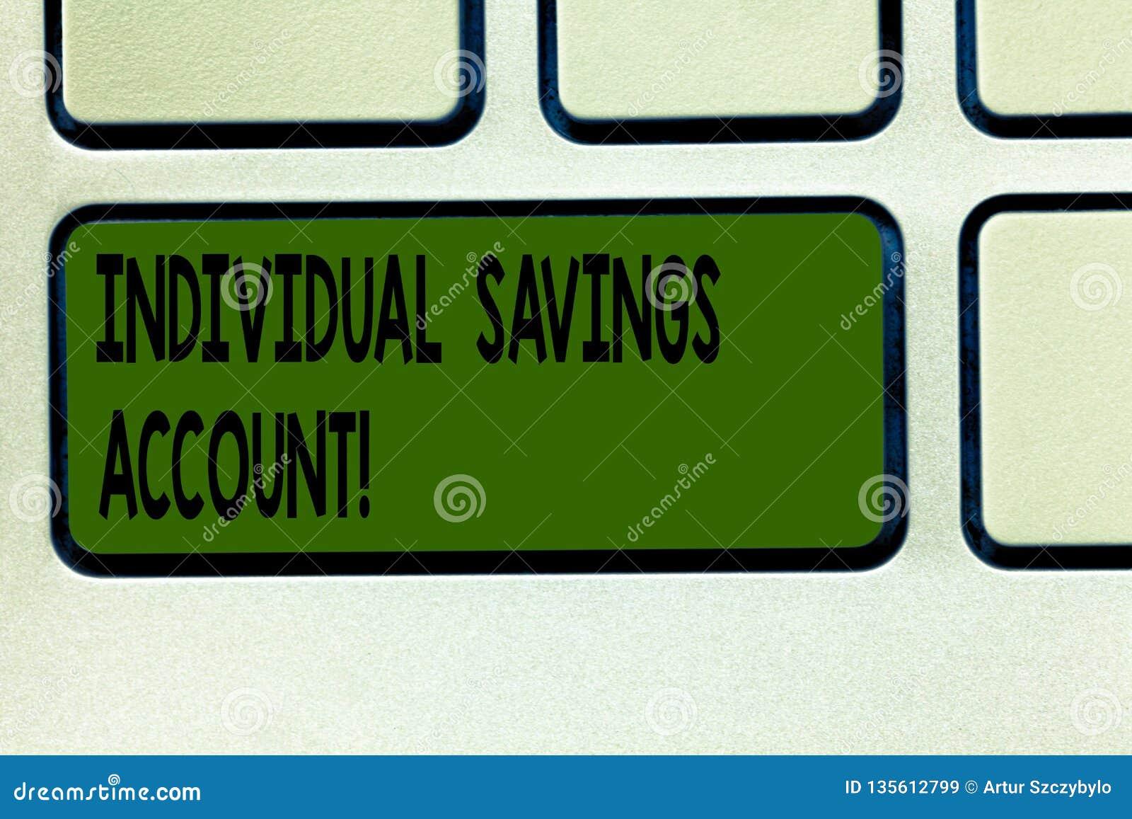 Pisać nutowym pokazuje Indywidualnym oszczędzania koncie Biznesowa fotografia pokazuje oszczędzania konto oferował w Zjednoczone