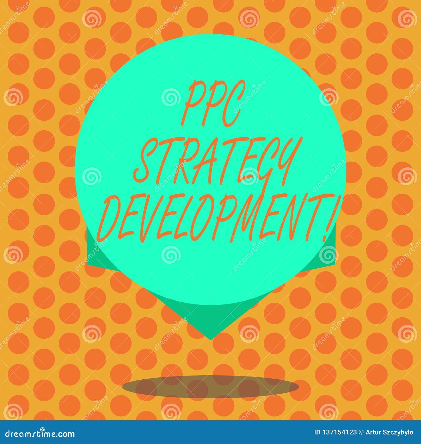 Pisać nutowym pokazuje Ppc strategii rozwoju Biznesowa fotografia pokazuje rozwijać plan akcji budować wydajnego