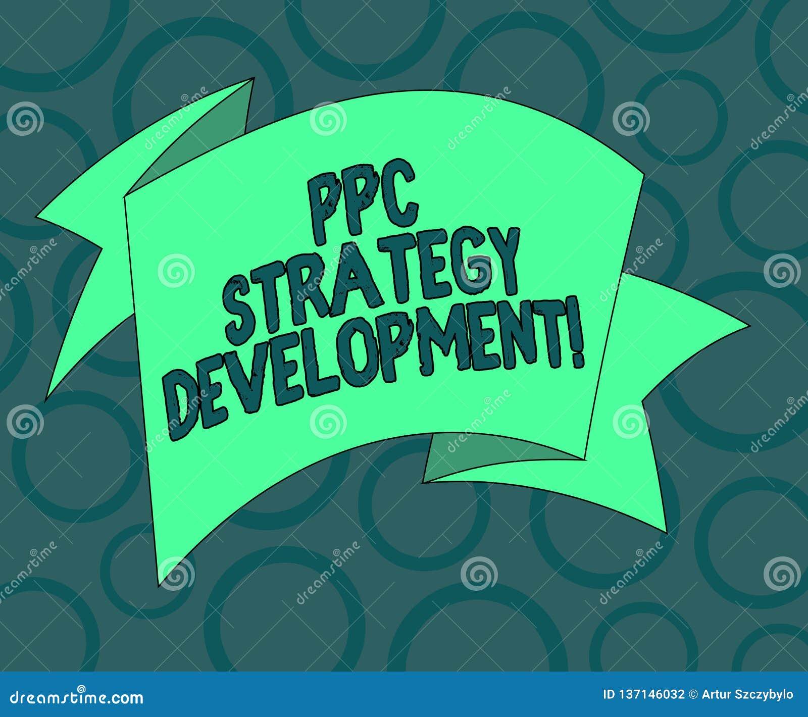 Pisać nutowym pokazuje Ppc strategii rozwoju Biznesowa fotografia pokazuje rozwijać plan akcji budować wydajnego PPC Składającego