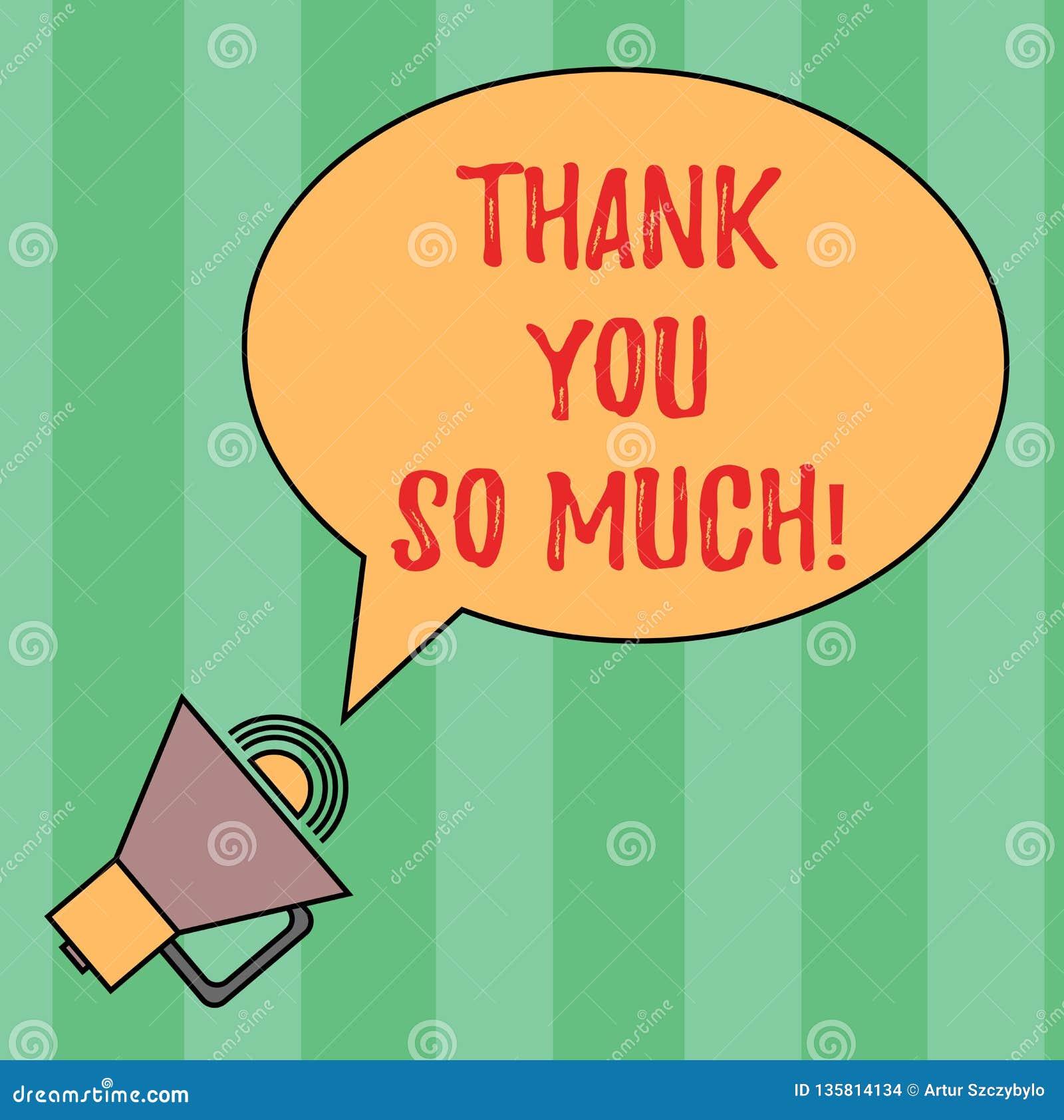 Pisać nutowym seansie Dziękuje Ciebie Tak Dużo Biznesowa fotografia pokazuje wyrażenie wdzięczność powitania docenienie owal