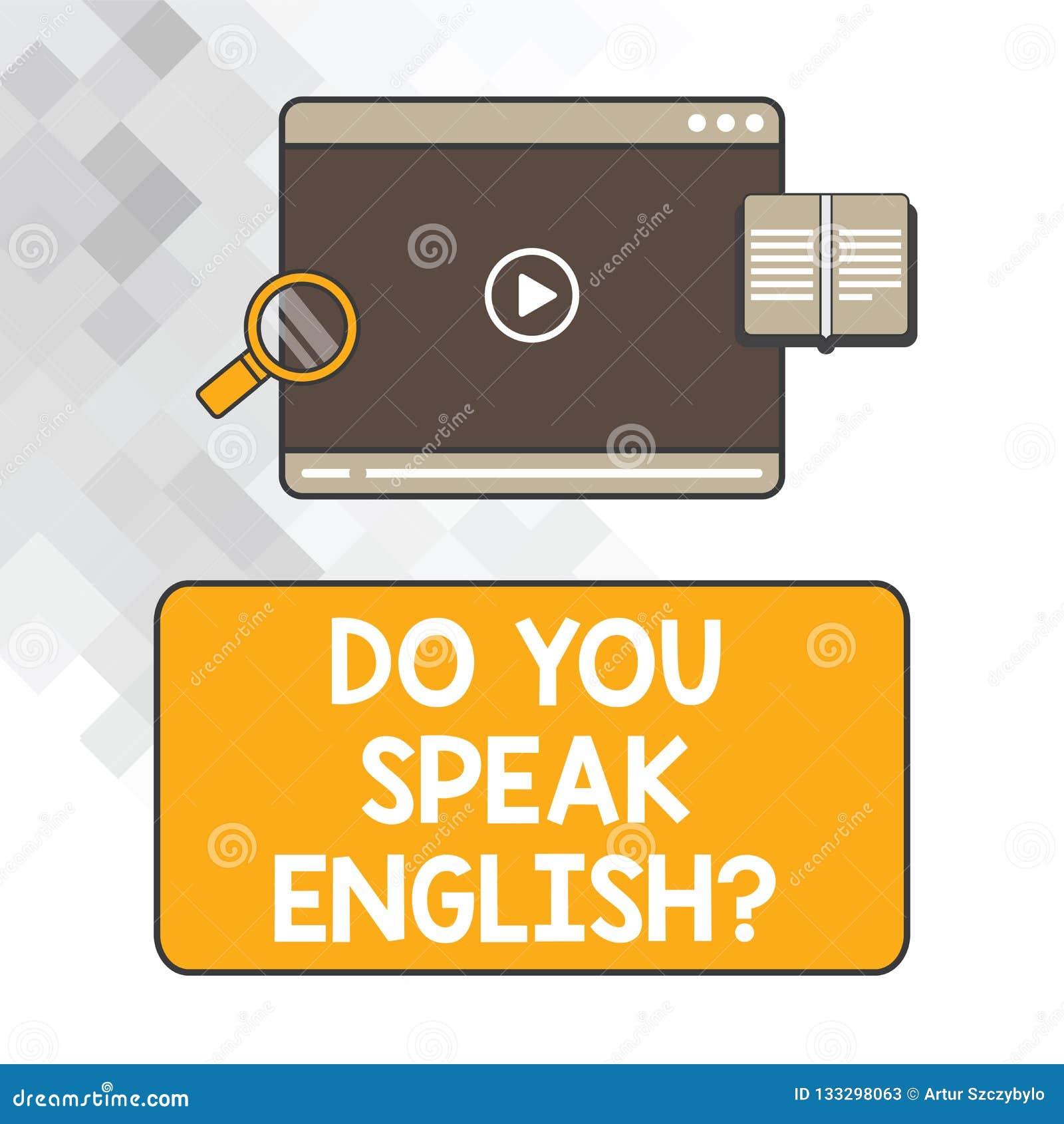 Pisać nutowym seansie Ty Mówisz Englishquestion Biznesowa fotografia pokazuje Obcojęzycznego uczenie języków pastylki różnego wid