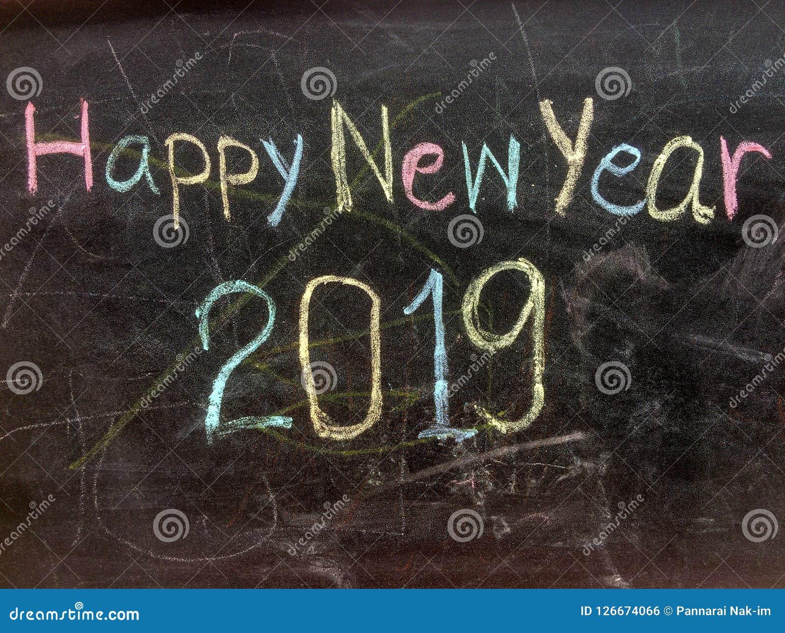 Pisać Szczęśliwego nowego roku na blackboard