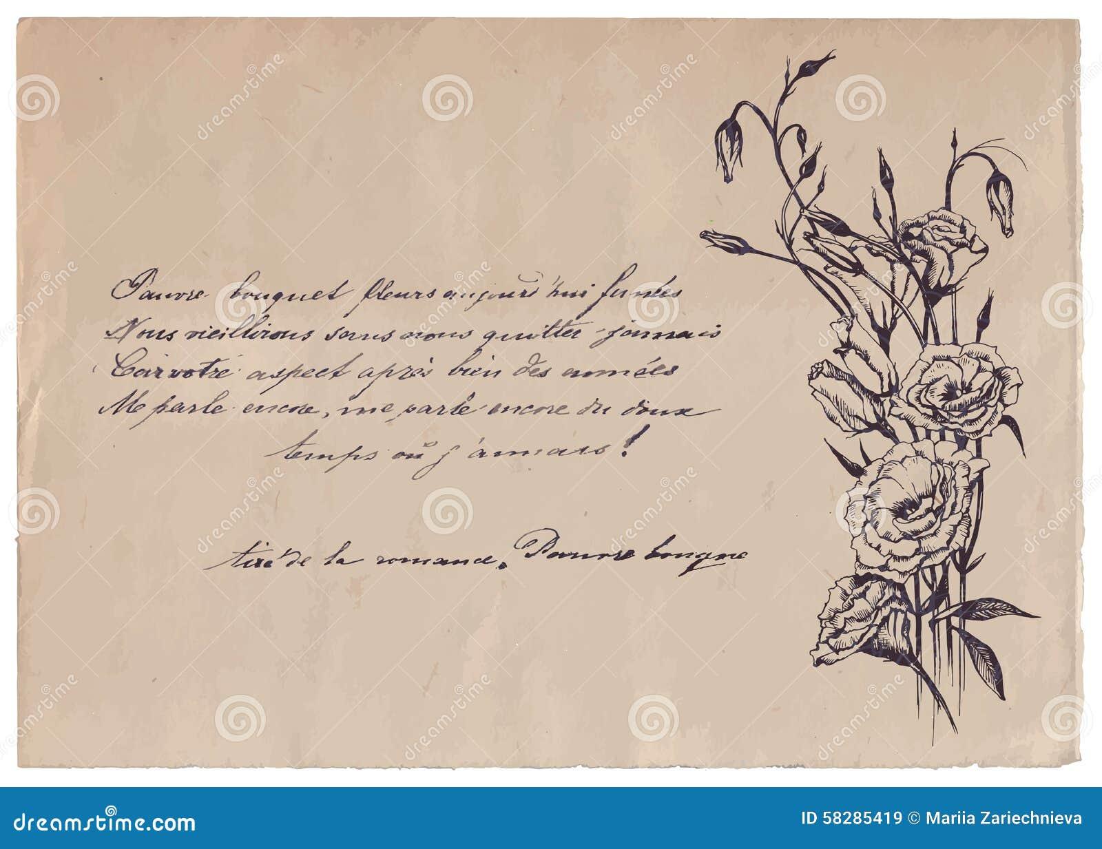 Pisać Wiersz Na Starym Papierowym Tle Z Rysunkiem Ilustracja
