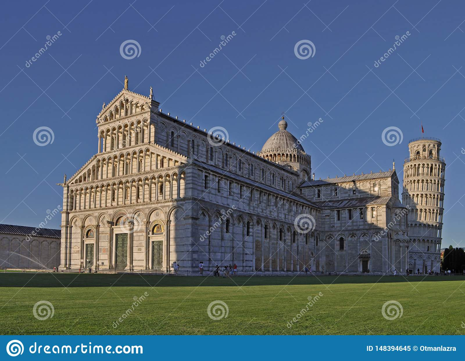 View on Pisa Cathedral, and Pisa Baptistery of St. John, Piazza del Duomo