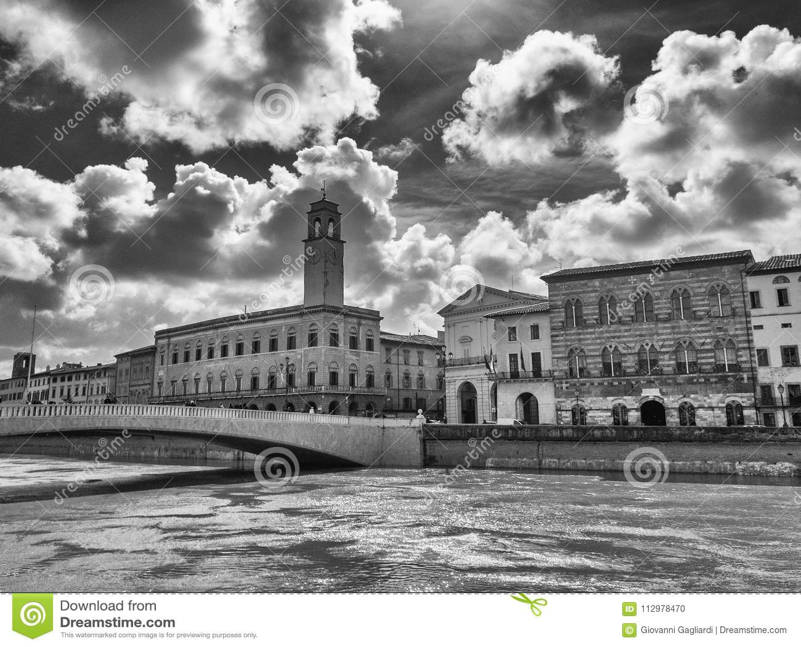 Pisa, Italy. Lungarni and City Hall Tower