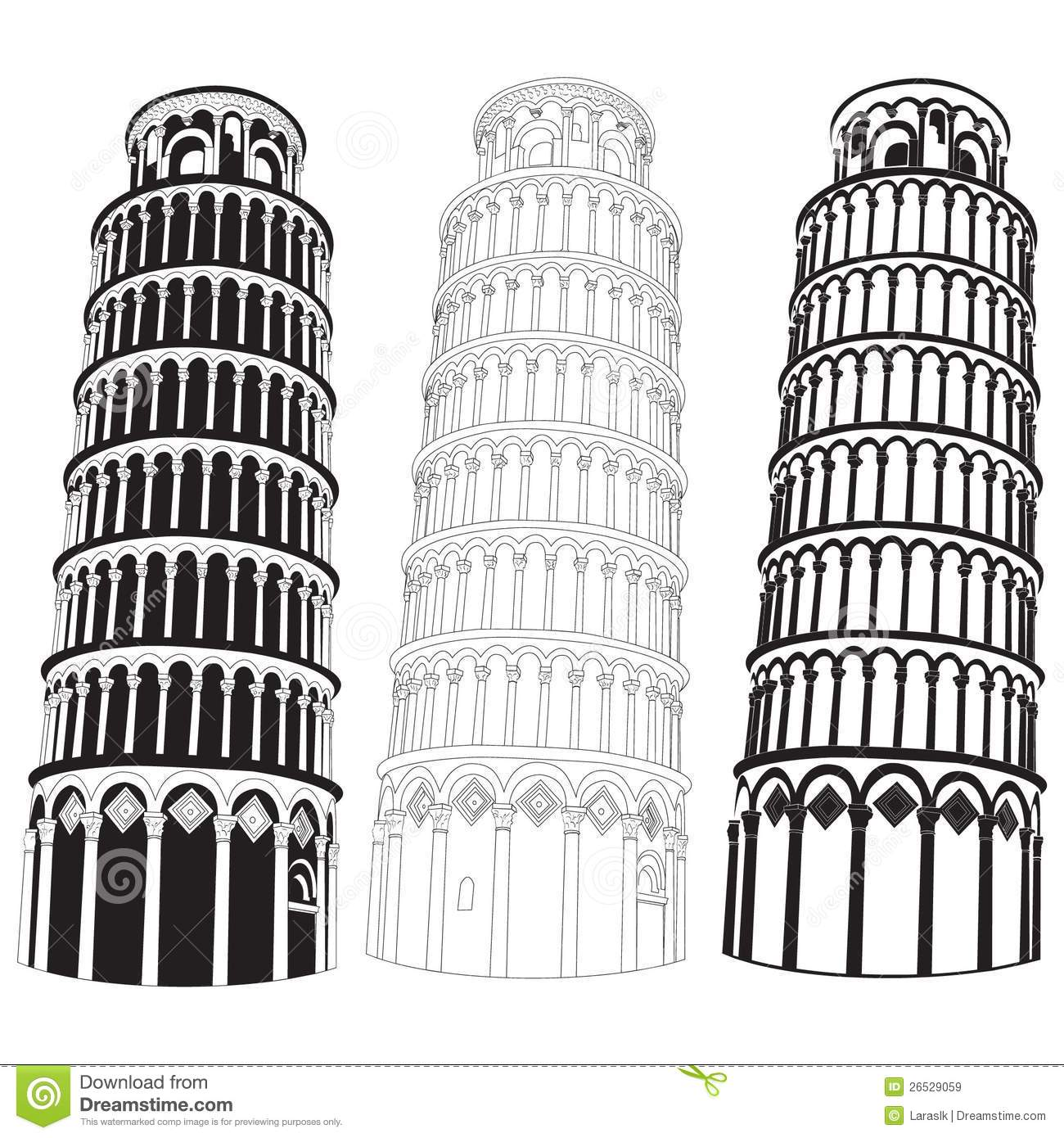 Pisa Tower Stock Vector Illustration Of Building Classical