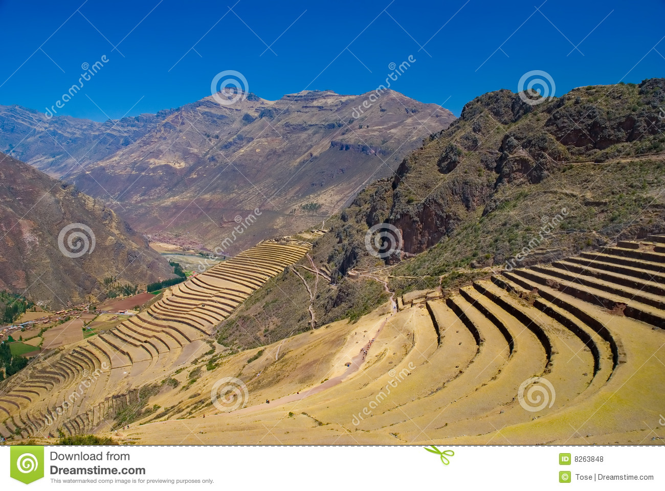Pisac Ruins Sacred Valley Cusco Peru Stock Photo