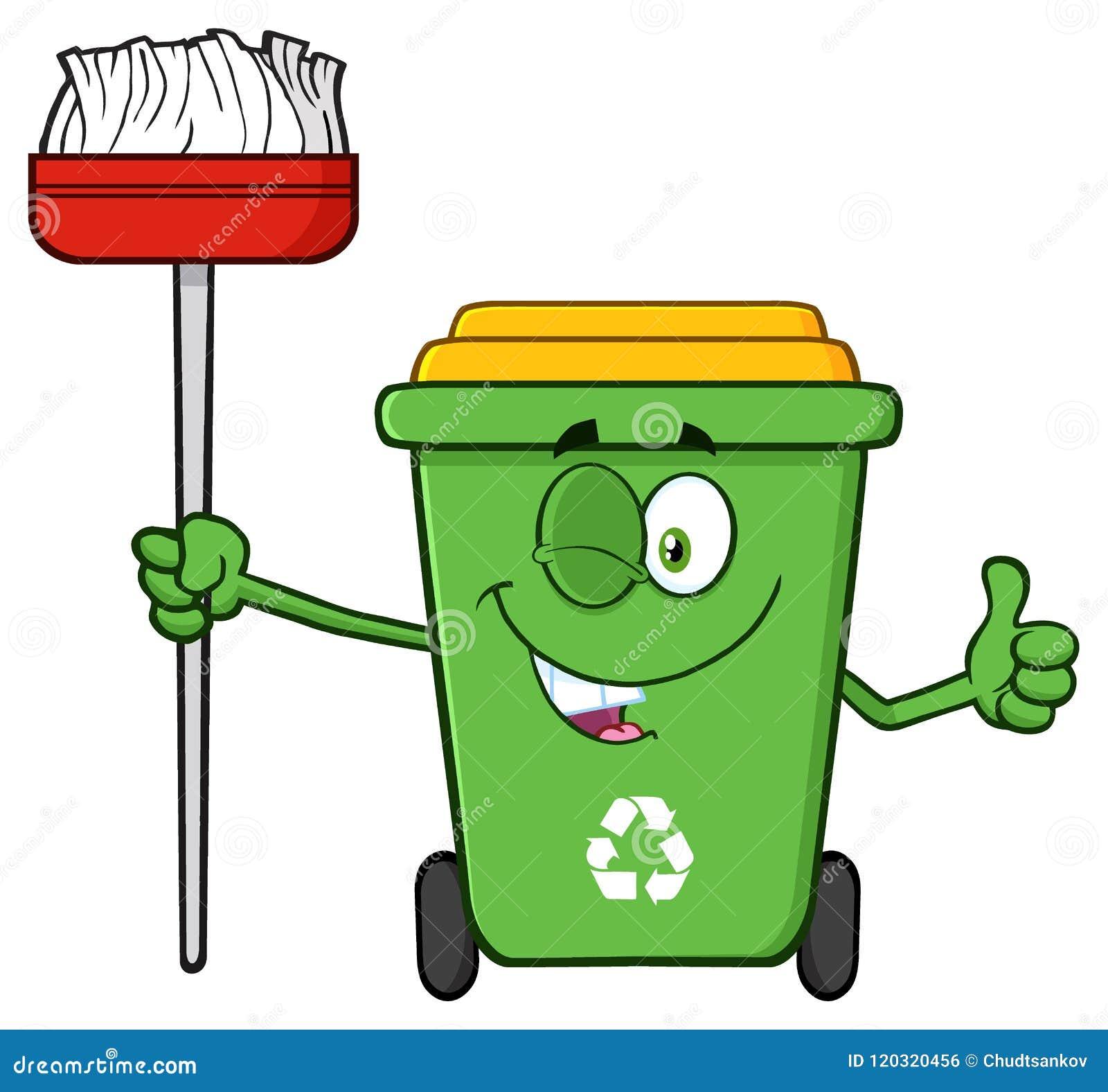 pisc o caráter verde da mascote dos desenhos animados da reciclagem