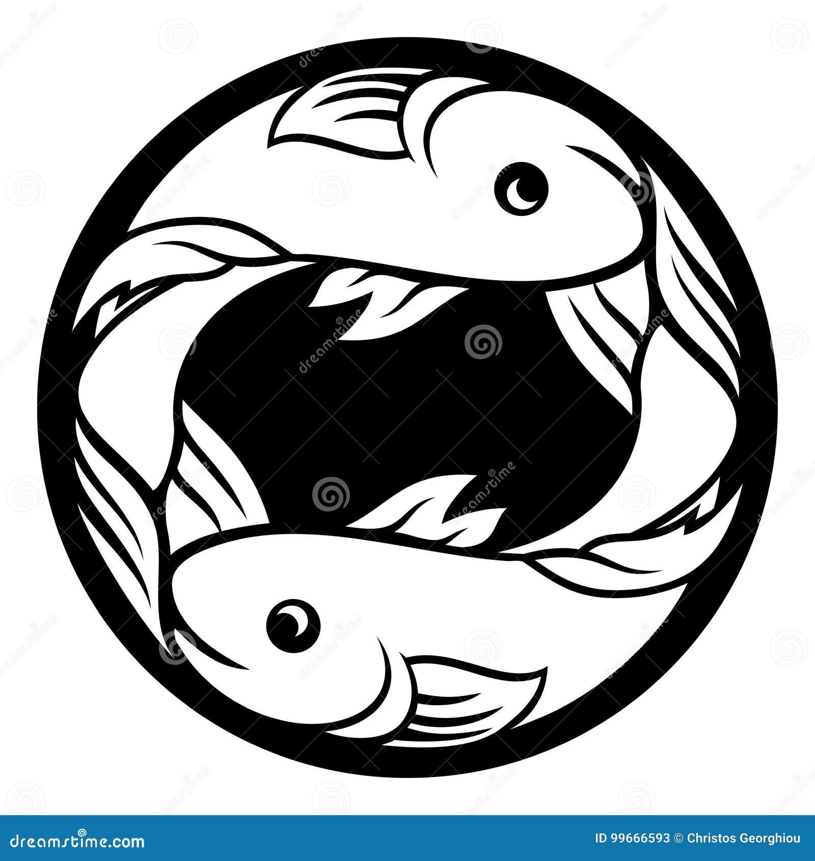 Pisces Fish Zodiac Horoscope Astrology Sign Stock Vector