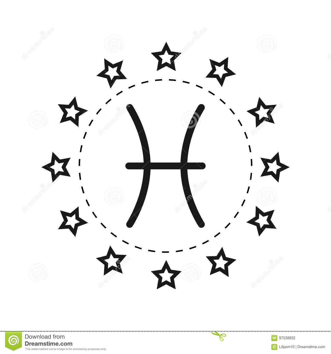 Pisces Sign Of The Zodiac Flat Symbol Horoscope And Predictions
