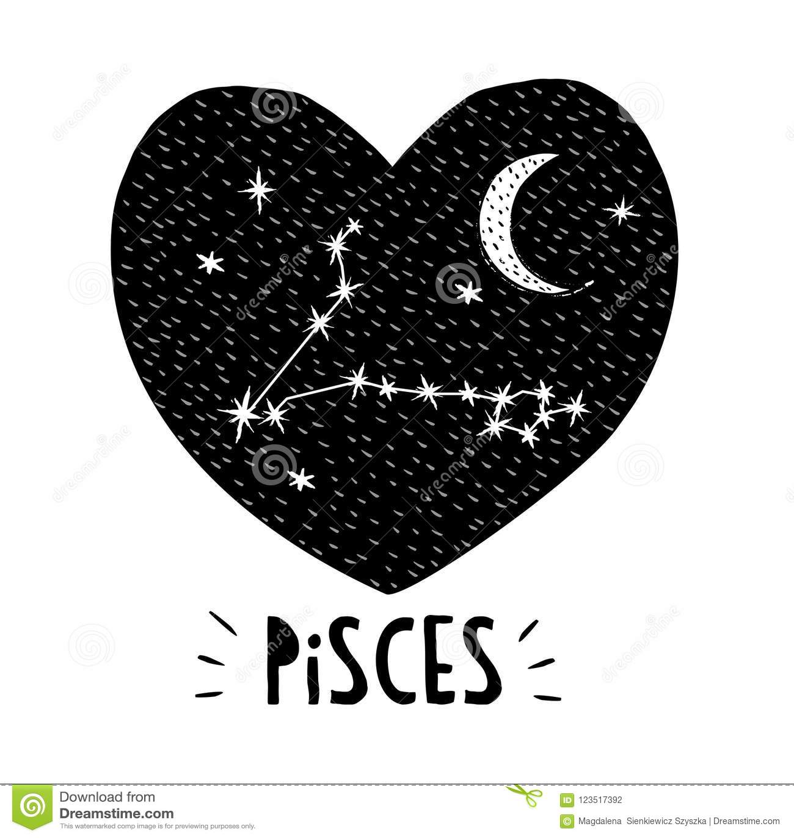 Pisces Symbol Hand Drawn Zodiac Vector Illustration Infantile