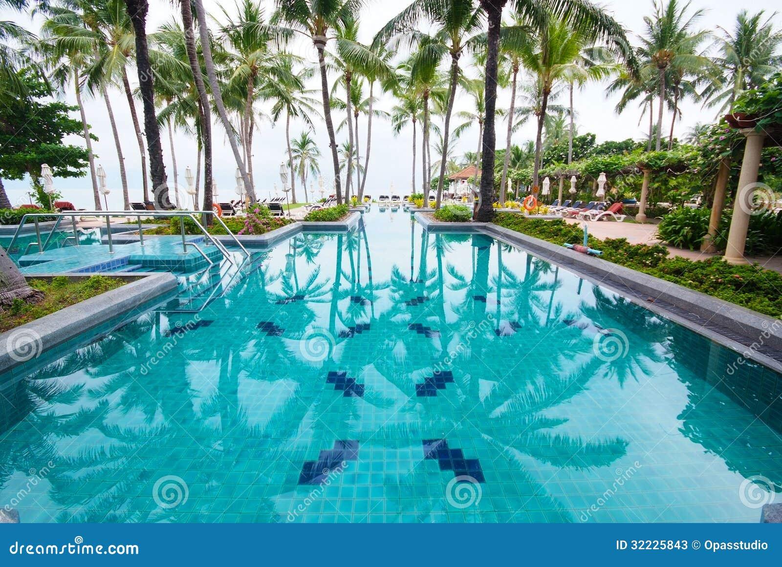 Download Piscina Ao Lado Do Mar Com árvore De Coco. Imagem de Stock - Imagem de pool, exotic: 32225843