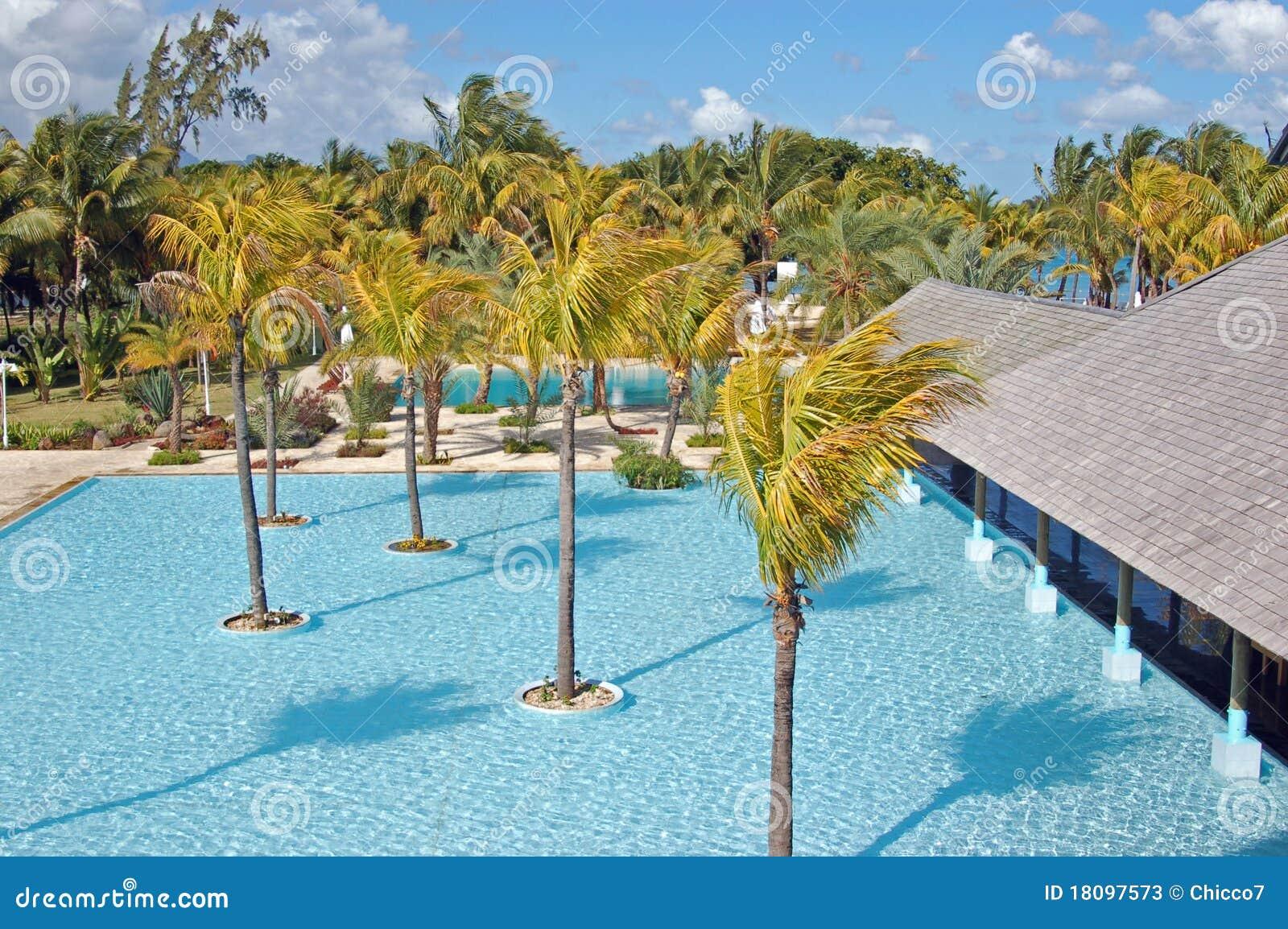 Piscina con le palme in un ricorso in isola maurizio for Isola gonfiabile piscina
