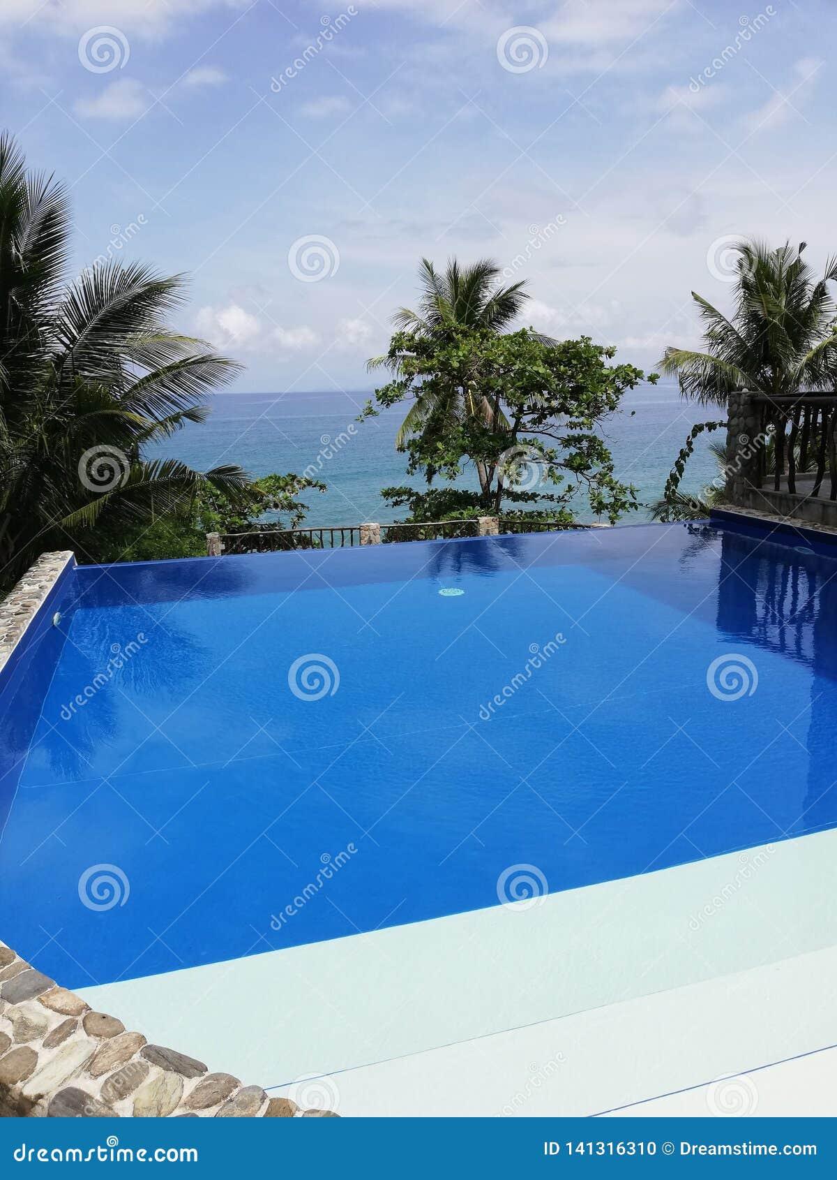 Piscina del infinito con vista del mar chino tropical en Mindoro, Filipinas