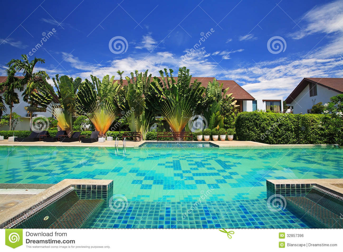Piscine bleue de luxe dans le jardin tropical photo stock for Piscine destock