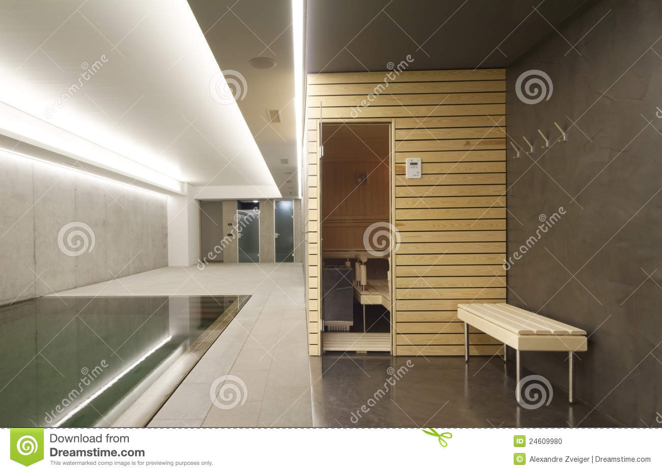 piscine d 39 int rieur avec le sauna photo stock image 24609980. Black Bedroom Furniture Sets. Home Design Ideas