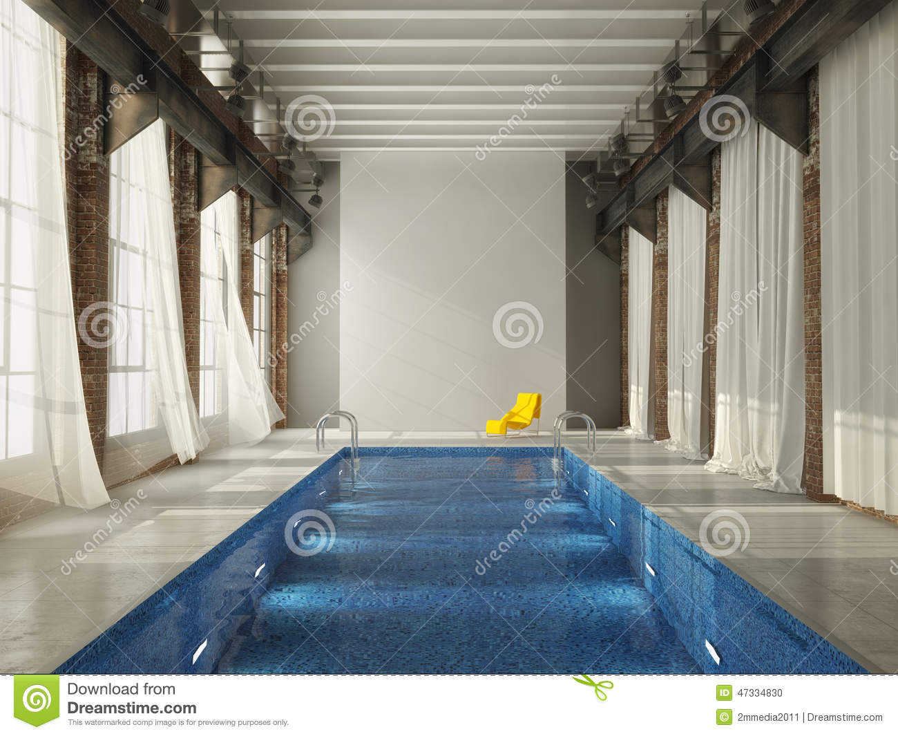 Piscine d 39 int rieur dans un grenier rendu 3d illustration stock image 47334830 for Piscine d interieur