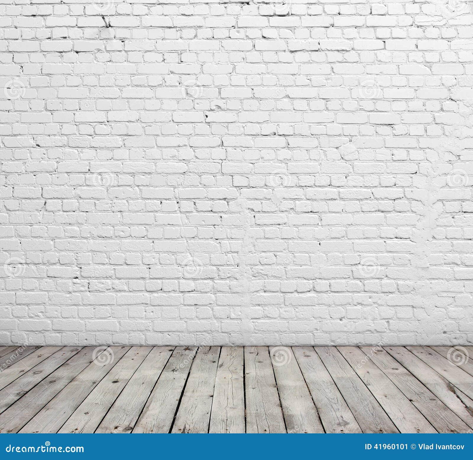 Piso blanco de la pared de ladrillo y de madera imagen de archivo imagen de rect ngulo fondo - Pared de ladrillo blanco ...